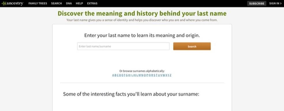 Esivanemate veebisait võimaldab teil leida nime päritolu Foto: Reproduo / Marvin Costa