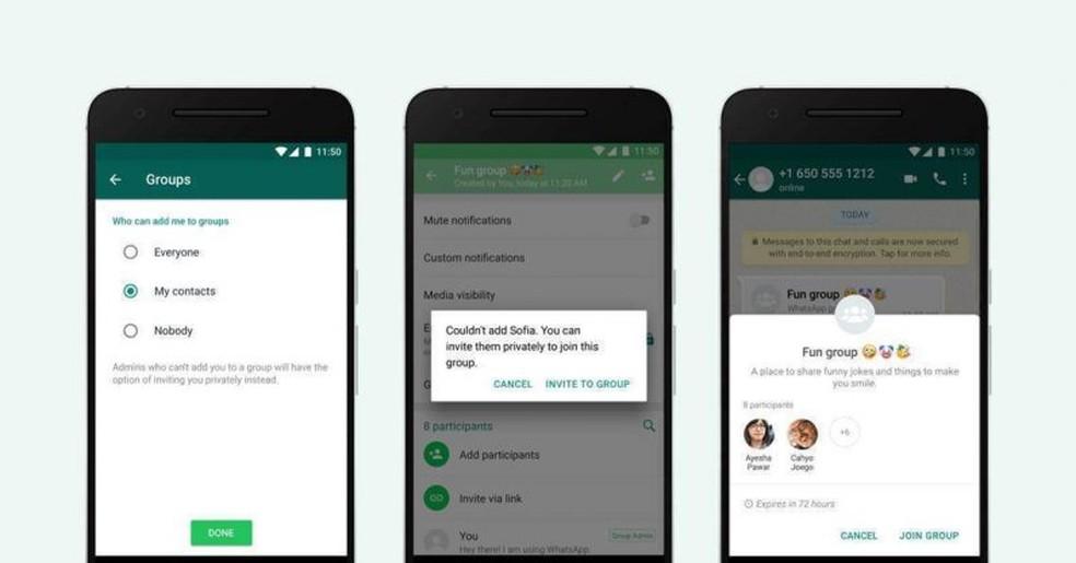 Fotogrupi kutsete privaatsuse valikud: Divulgao / WhatsApp