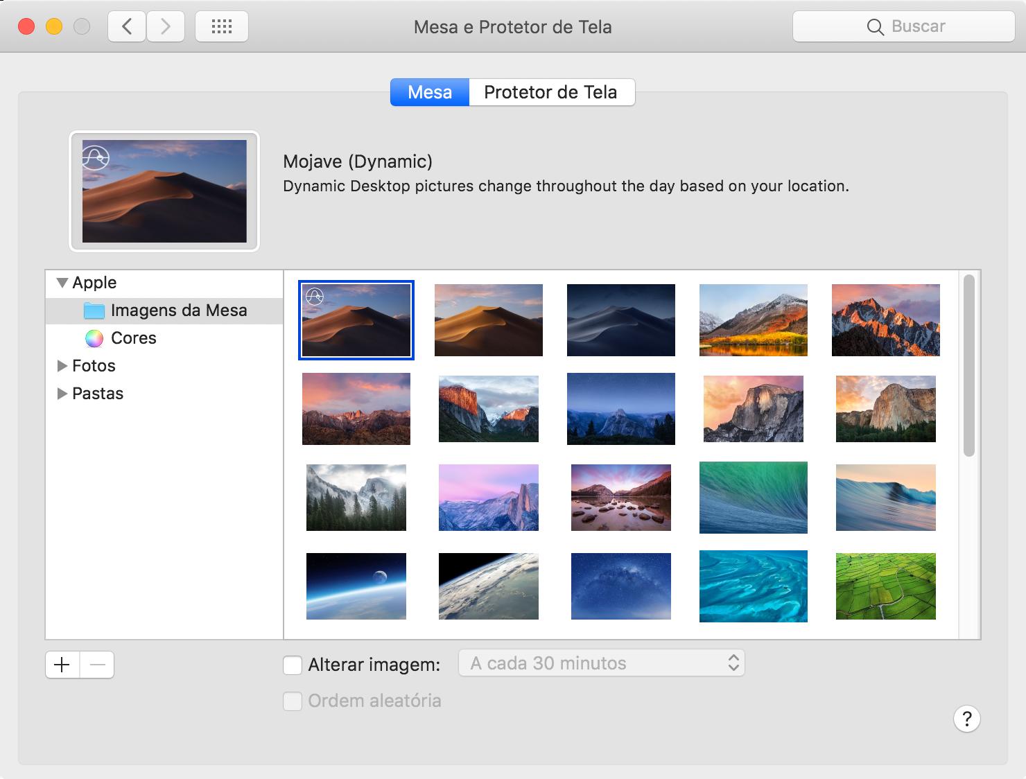 Dünaamilised taustapildid MacOS-is 10.14 Mojave