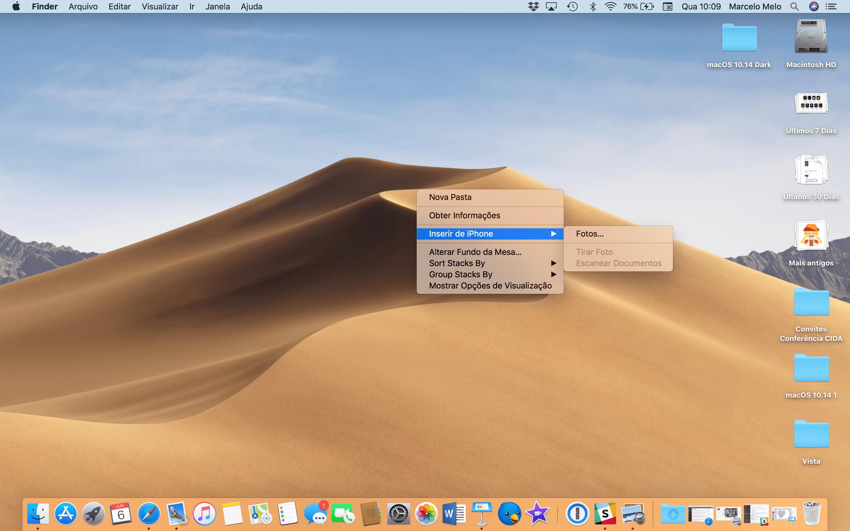 Sisestage iPhone'i tehtud pildid macOS 10.14 Mojave