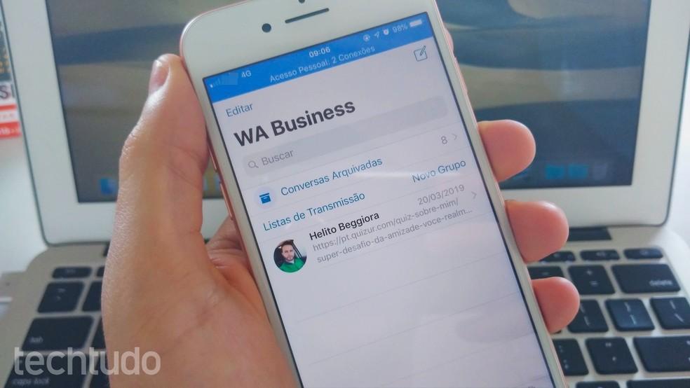 Siit saate teada, kuidas luua iPhone'i jaoks WhatsApp Business'is äriprofiili. Foto: Helito Beggiora / TechTudo