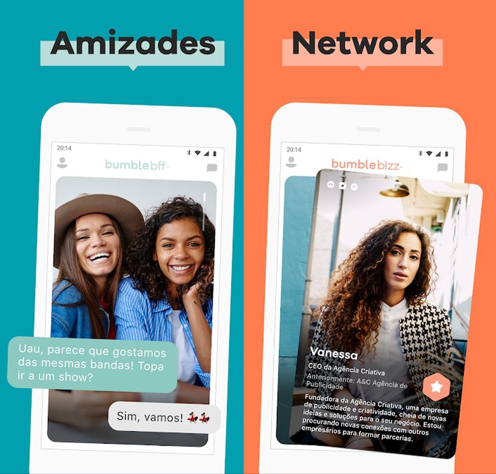 Bumble BFF ja Bumble Bizz võimaldavad teil leida sõpru ja äriühendusi. Foto: Divulgao / Bumble