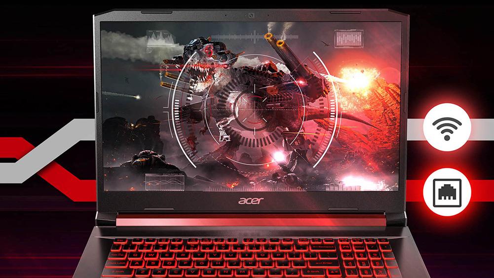 Acer Nitro 5 sülearvuti, tapeediga, millel on Mecha Tyrannosaurus Rex, tulistavad raketid