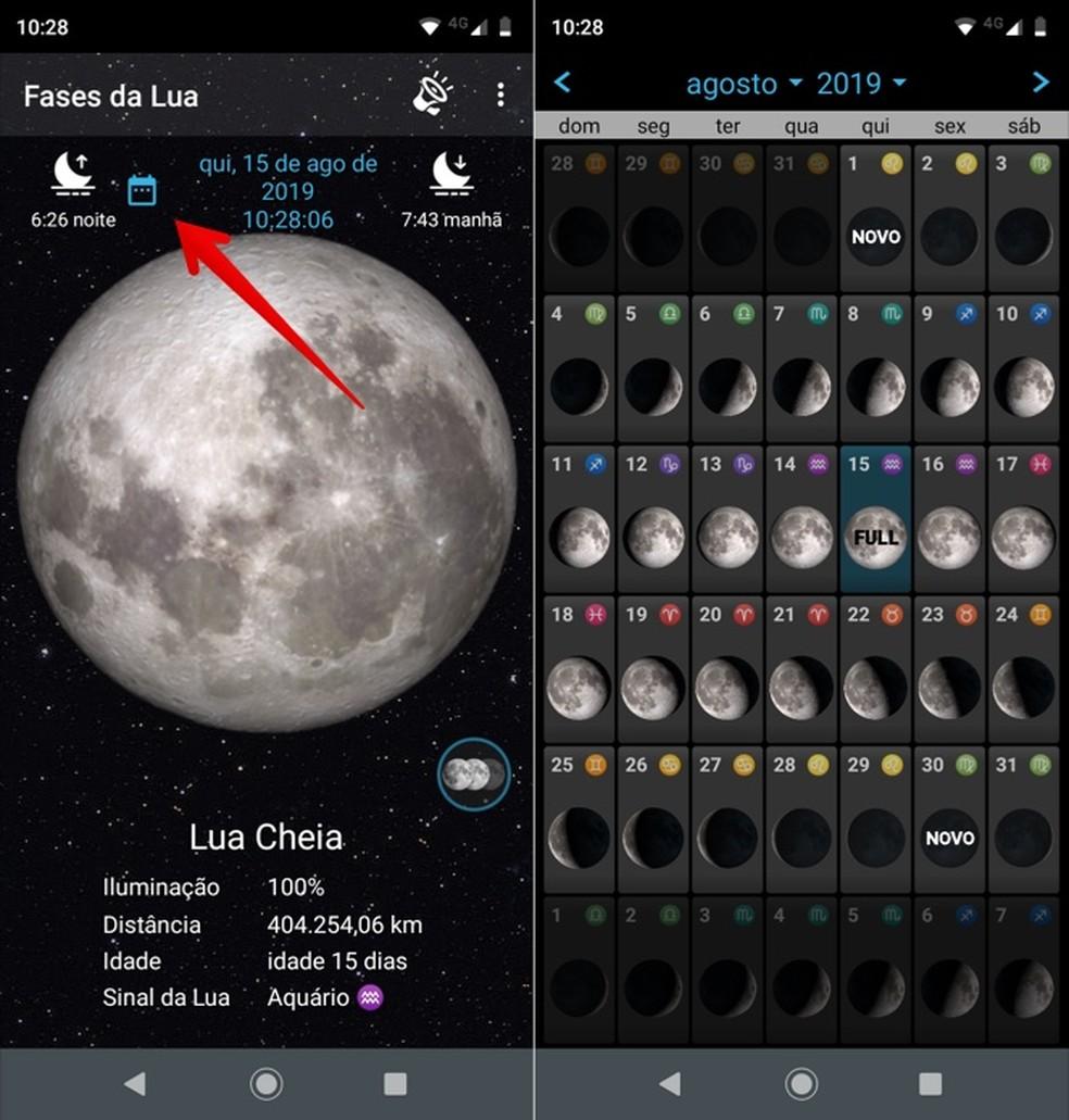 Kuu kalendrisse pääsete rakenduses Foto Kuu: Reproduo / Helito Beggiora