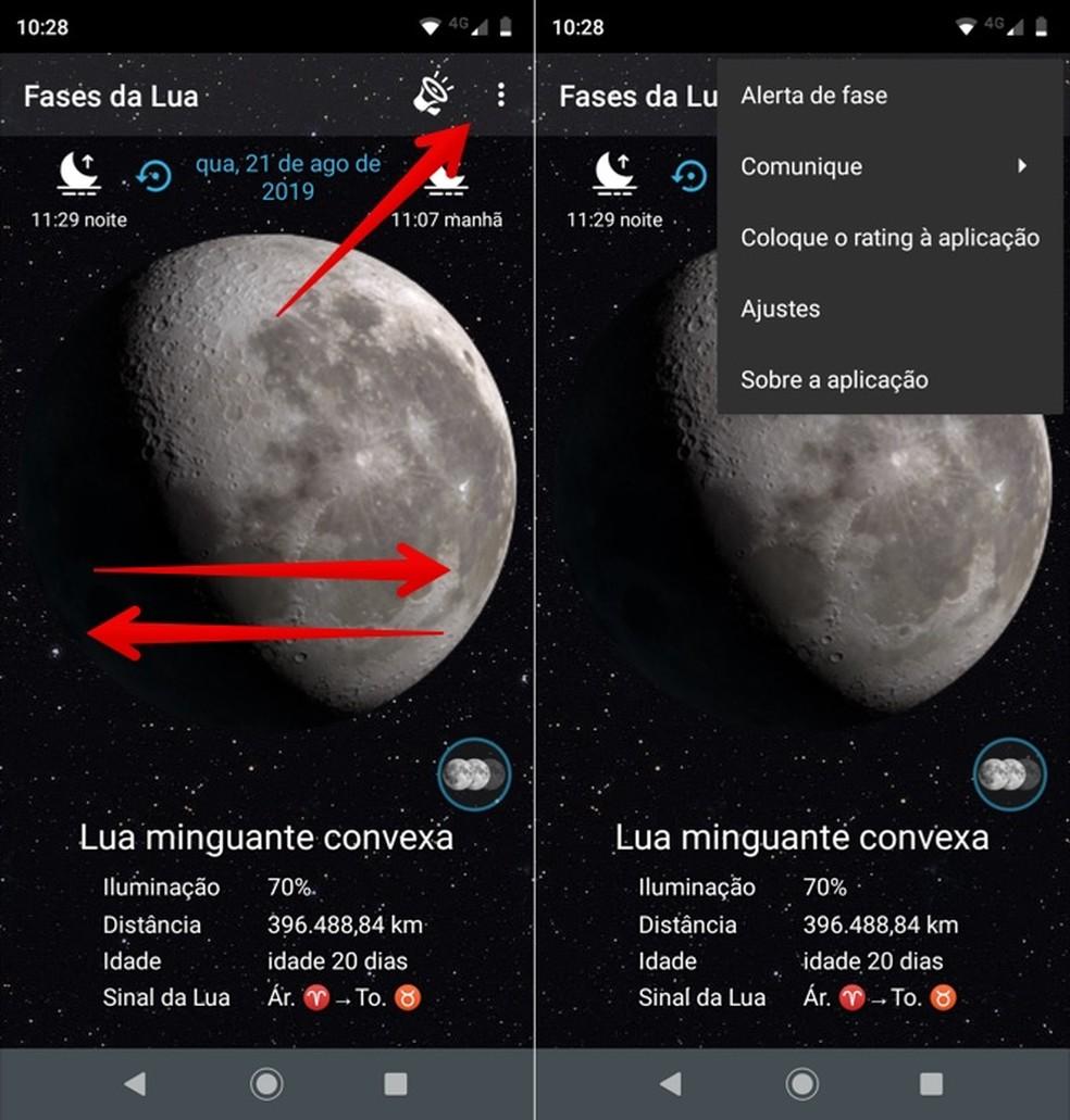 Kuu faasi fotorakenduses kuupäeva muutmiseks pühkige ekraani: Reproduo / Helito Beggiora