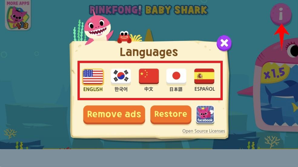Rakendus Baby Shark võimaldab teil vaadata videoid erinevates keeltes. Fotod: Reproduo / Rodrigo Fernandes