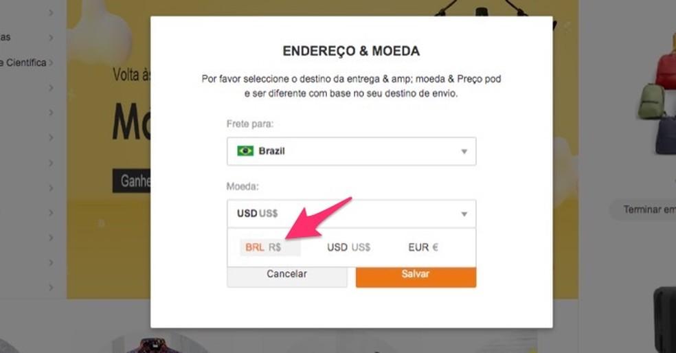 Brasiilia Reali seadistamisel tehke Banggoodi veebisaidil ostude maksevaluutana Foto: Reproduo / Marvin Costa