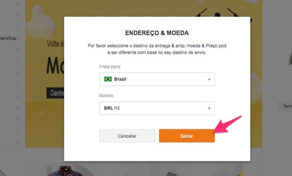 Kui salvestate Banggood Photo veebisaidil ostude jaoks uue maksevaluuta konfiguratsiooni: Reproduo / Marvin Costa