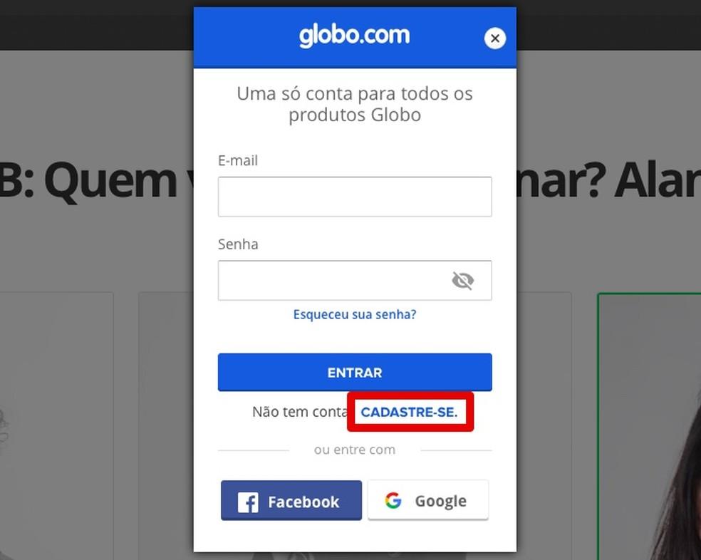 Logi BBB valimiseks oma e-posti, Facebooki või Google'i andmete abil sisse Globo.com: Foto: Reproduo / Helito Beggiora