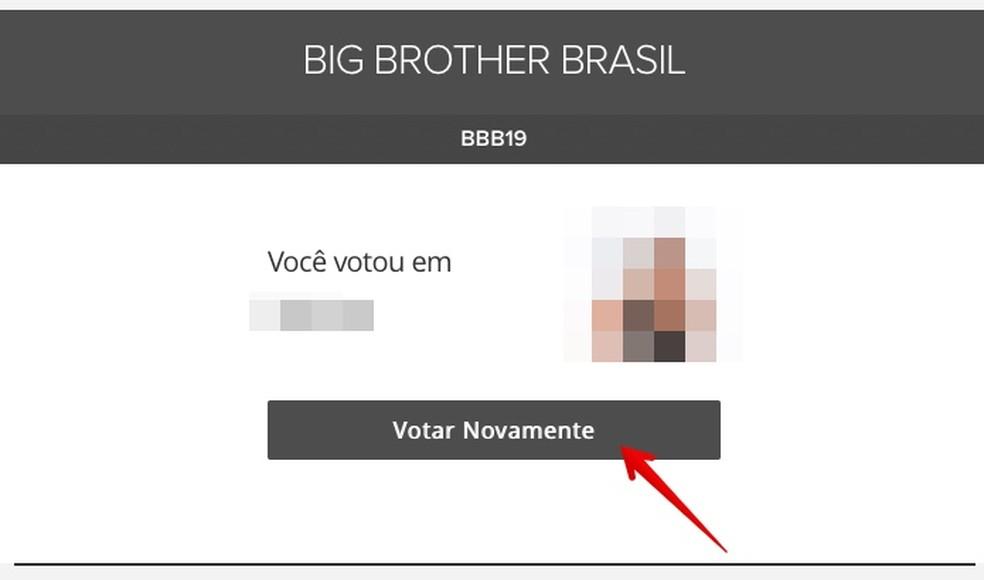 Veebisaidil BBB 2019 kuvatakse seinal hääletamise kinnitus Foto: Reproduo / Helito Beggiora