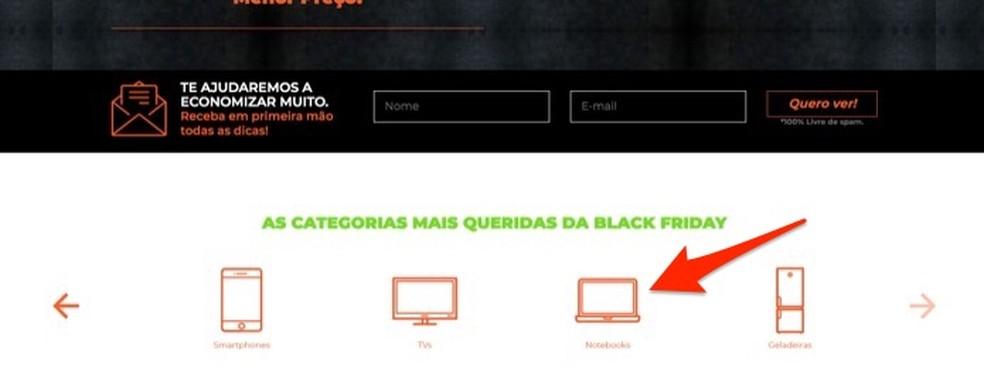 Musta reede tootekategooriate vaatamisel JCotei veebisaidil Foto: Reproduo / Marvin Costa