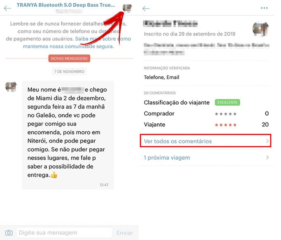 Kohaletoimetamise kohad ja üksikasjad ühendatakse otse reisijaga, teie profiilis leiate teiste kasutajate klassifikatsioonid ja kommentaarid Foto: Reproduo / Tatiane Mota