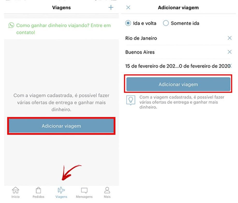 """Vahekaardil """"Reisimine"""" on võimalik registreerida mitu sihtkohta ja kuupäeva tähistada fotod: Reproduo / Tatiane Mota"""