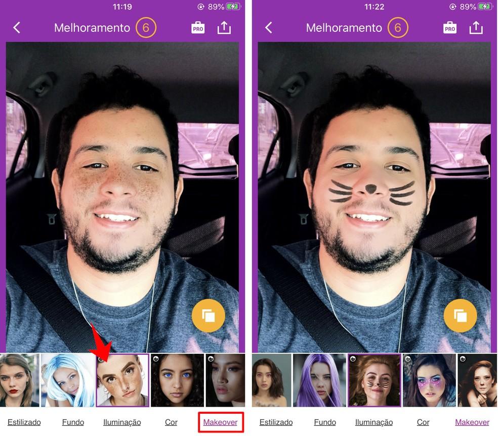 Visage Lab võimaldab teil oma näole meiki ja laike lisada.Foto: Reproduo / Rodrigo Fernandes
