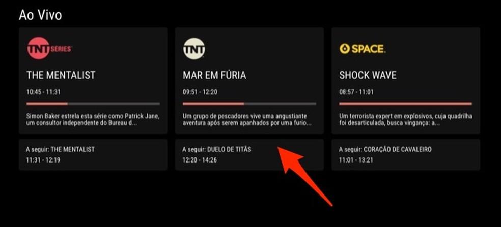 Programmi alustamiseks otse TNT kanalitel veebis Foto: Reproduo / Marvin Costa