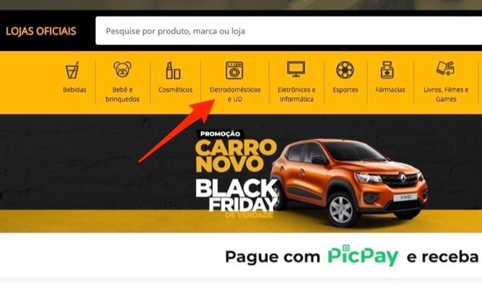 Juurdepääsul mustade reedede veebisaidil olevate tootekategooriate jaoks originaalfotodele: Reproduo / Marvin Costa