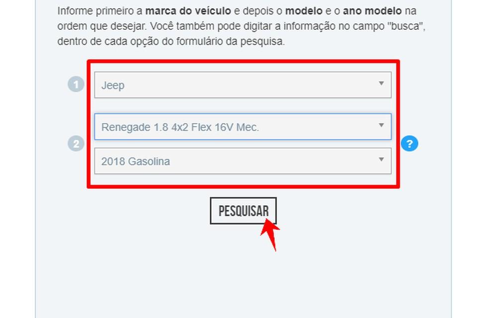 FIPE tabelis oleva auto hinna väljaselgitamiseks tuleb teavitada tootemarki, mudelit ja tootmisaastat Foto: Reproduo / Rodrigo Fernandes