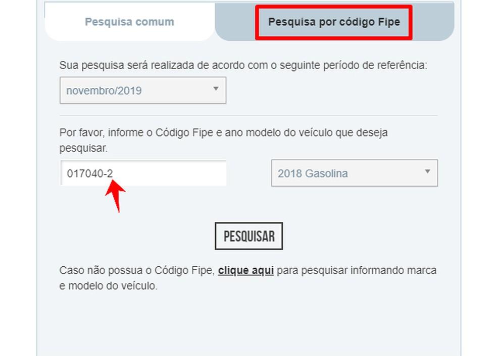 Autode hindu on võimalik otsida FIPE-koodi abil Foto: Reproduo / Rodrigo Fernandes