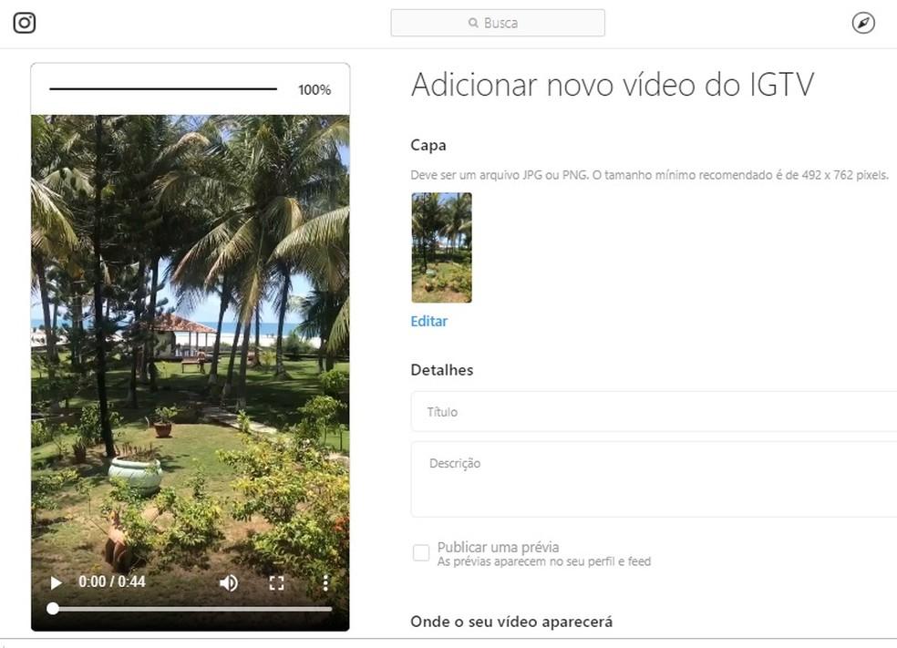 Looge kaanele ja pange oma arvutis IGTV-video pealkiri Foto: Reproduo / Rodrigo Fernandes