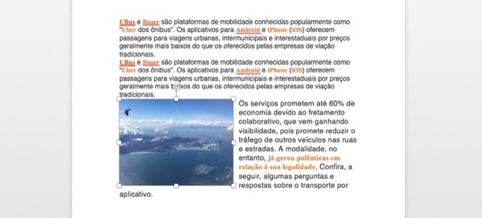 Pilt teisaldatakse Wordi dokumendis fotohiire abil mõnda teise kohta: Reproduo / Marvin Costa