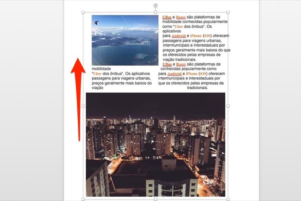 Microsoft Wordi fotodokumenti rühmitatud piltide teisaldamisel: Reproduo / Marvin Costa
