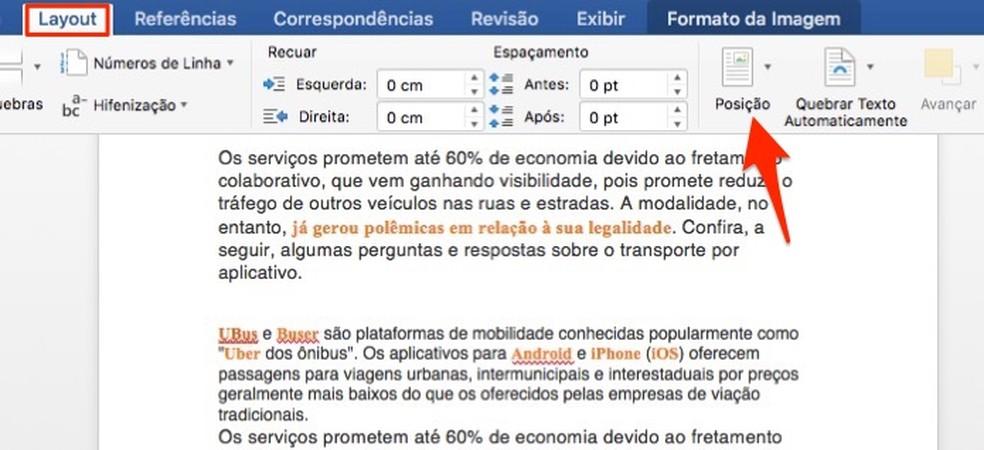 Microsoft Wordi fotodokumentide piltide paigutusvalikute kontrollimisel: Reproduo / Marvin Costa