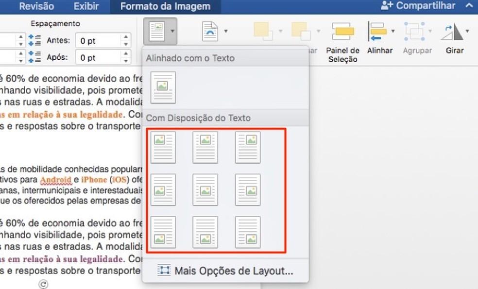 Kujutiste paigutuse korraldamisel Microsoft Wordi dokumentides Foto: reprodutseerimine / Marvin Costa