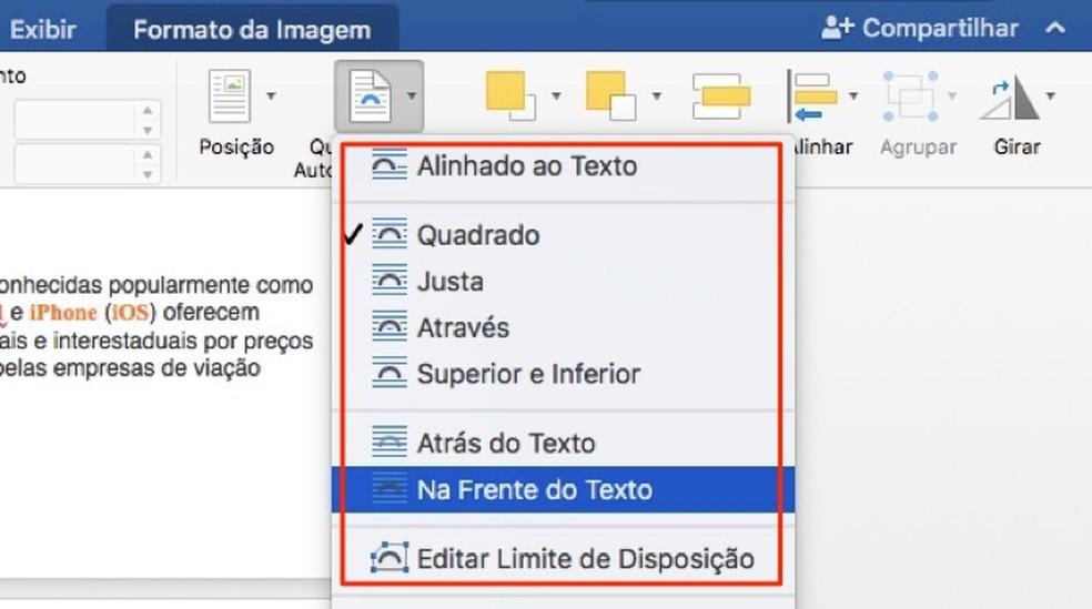 Võimalus mähkida teksti piltidesse Microsoft Wordi fotol: Reproduo / Marvin Costa