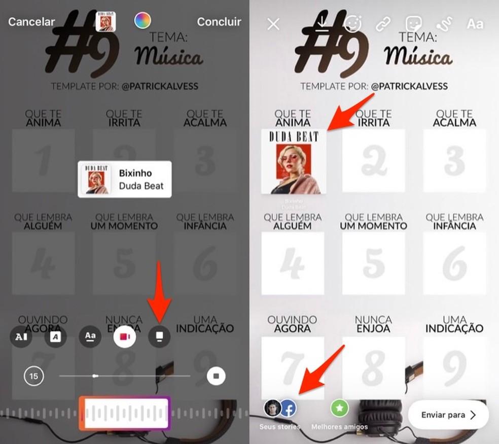 Play Story Instagrami esitusloendi fotomallil oleva laulu kasuks otsustades: Reproduo / Marvin Costa