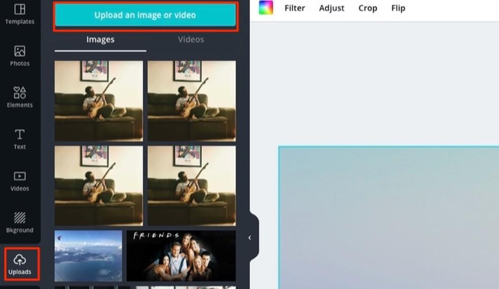 Canva veebisaidi loodud Twitteri kaanemallile arvutipildi lisamisega Foto: Reproduo / Marvin Costa
