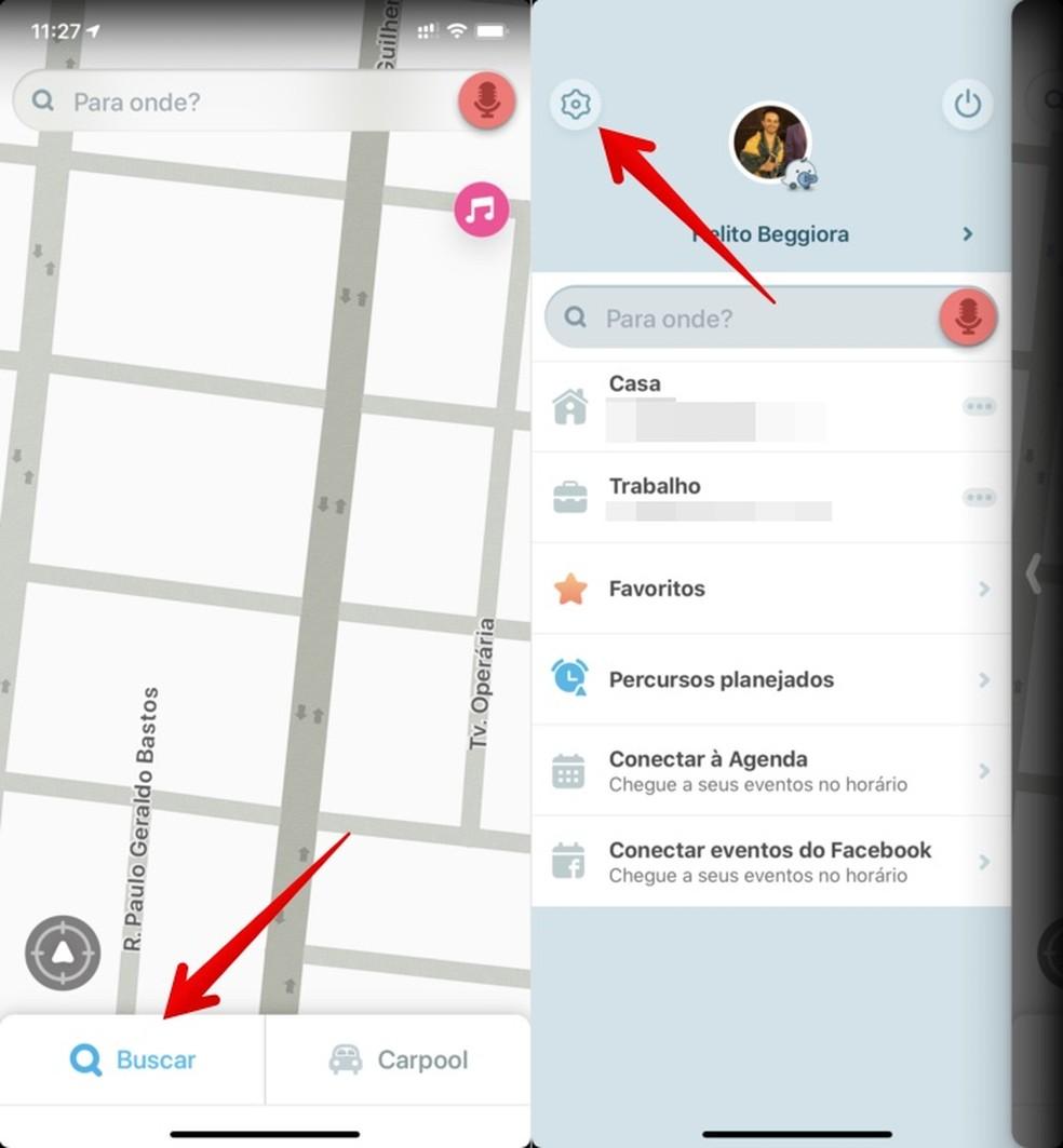 Juurdepääs Waze'i foto seadetele: reprodutseerimine / Helito Beggiora