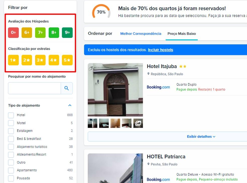 FindHotel Searchi fotode filtreerimiseks on võimalik kasutada filtreid: Reproduo / Rodrigo Fernandes