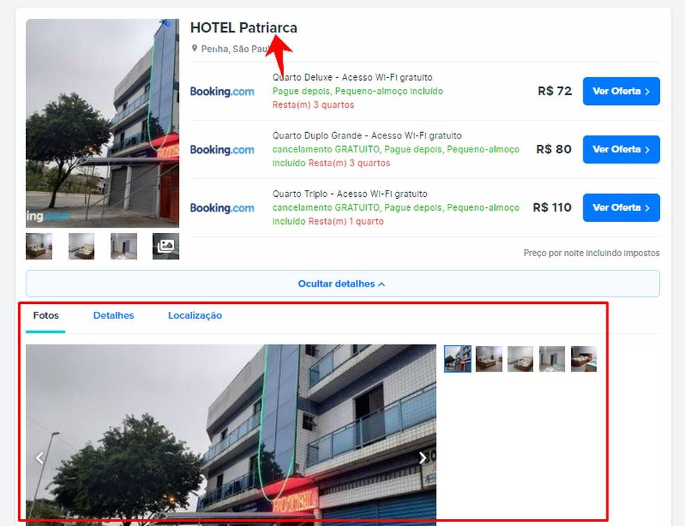 FindHotel näitab majutuse üksikasju Foto: Reproduo / Rodrigo Fernandes