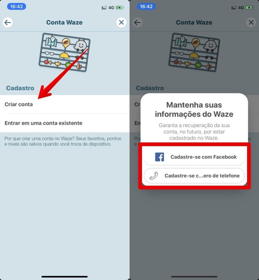 Waze'is on võimalik registreeruda Facebooki kaudu Foto: Reproduo / Helito Beggiora