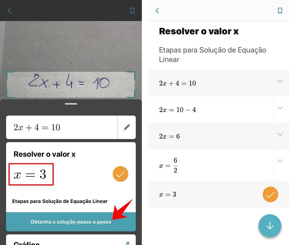 Microsoft Math Solver näitab võrrandite ja samm-sammuliste lahenduste tulemusi Foto: Reproduo / Rodrigo Fernandes
