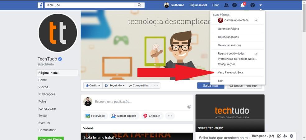 Valige sätetes Foto seaded Facebook Beta: Reprodutseerimine / Guilherme Ramos