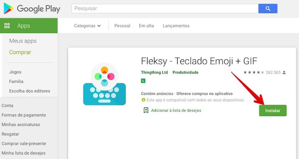 Installige arvutiga Androidi uus klaviatuur Foto: Reproduo / Helito Beggiora