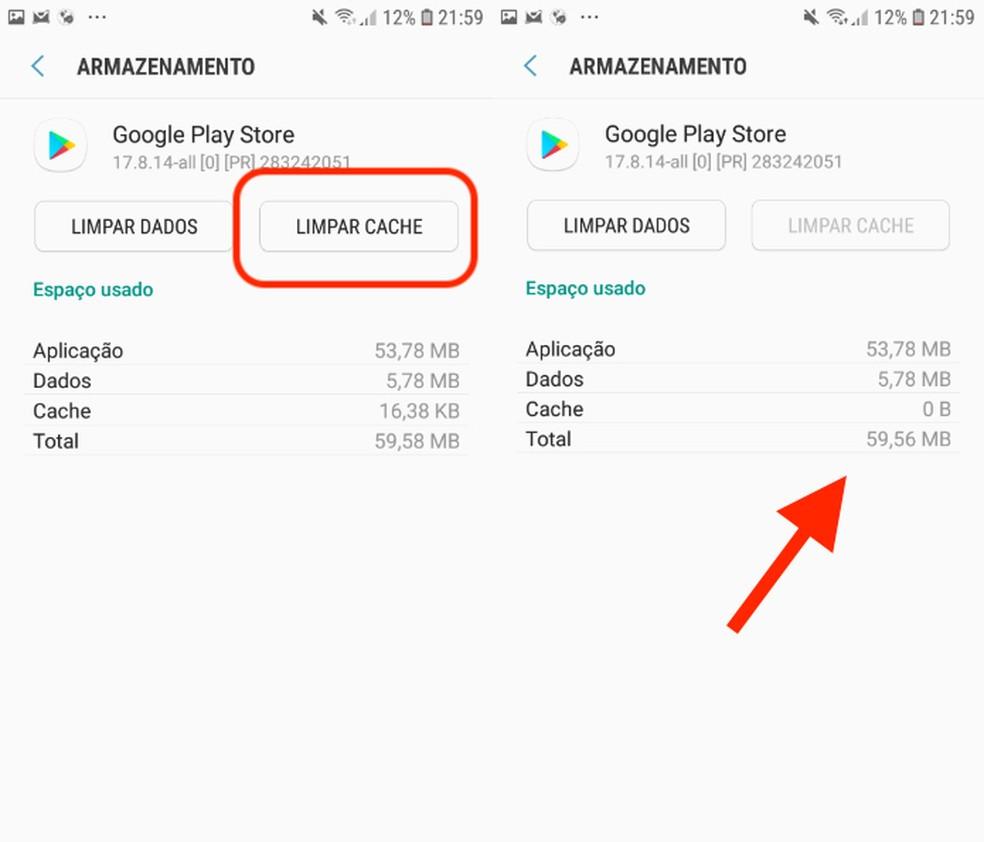 Google Play poe vahemälu tühjendamine võib probleemi lahendada. Foto: Reproduo / Daniel Dutra