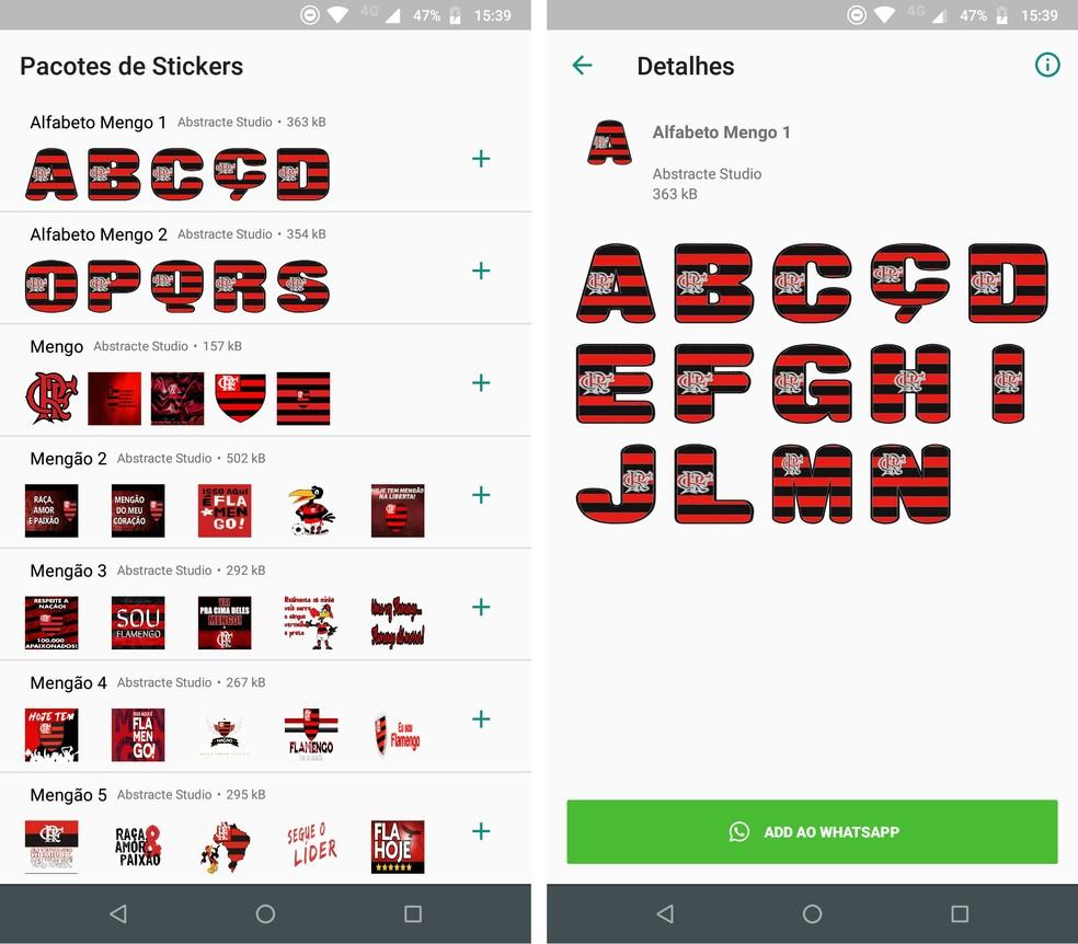 Flamengo kleebised pakuvad tähestikulisi kleebiseid meeskonna värvides. Foto: Reproduo / Rodrigo Fernandes