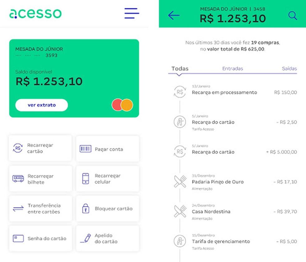 Juurdepääsurakendus võimaldab teil kontrollida oma ettemaksekaardi saldo ja uuesti täita Foto: Divulgao / Acesso