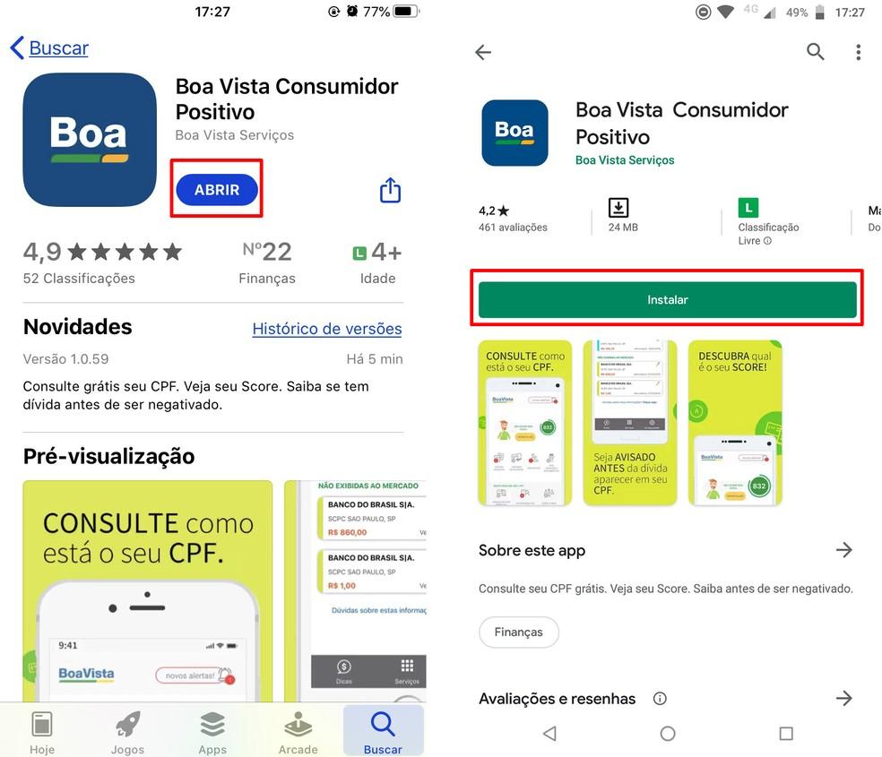 Laadige App Store'is ja Play poes alla rakendus Boa Vista Consumidor Positivo. Foto: Reproduo / Rodrigo Fernandes