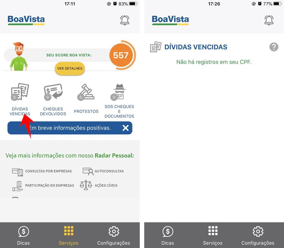 Boa Vista Consumidor Positivo näitab CPF-is laenatud võla võimalust Foto: Reproduo / Rodrigo Fernandes