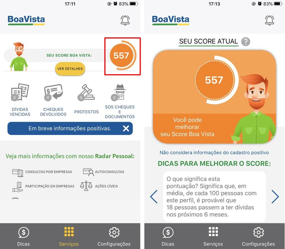 Boa Vista Consumidor Positivo näitab avaekraanil kasutajate hindeid Foto: Reproduo / Rodrigo Fernandes