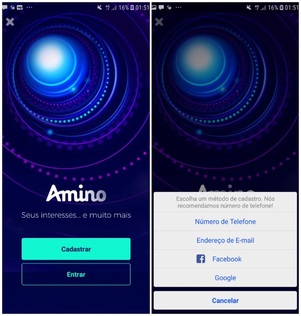 Amino Apps pakub erinevaid fotode registreerimise meetodeid: Reproduo / Daniel Dutra