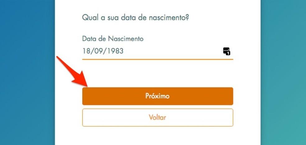 Loterias da Caixa veebisaidil uue kasutaja registreerimisel oma sünnikuupäeva määramisel Foto: Reproduo / Marvin Costa
