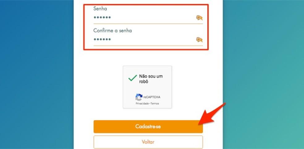 Loterias da Caixa veebisaidil uue kasutaja parooli seadmisel Foto: Reproduo / Marvin Costa