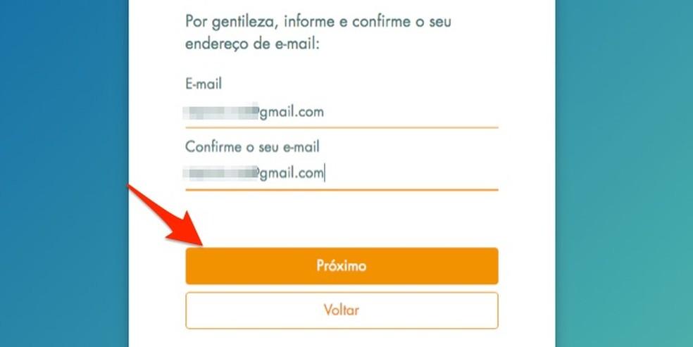 Loterias da Caixa veebisaidil registreerimise ajal e-posti aadressi määramisel Foto: Reproduo / Marvin Costa