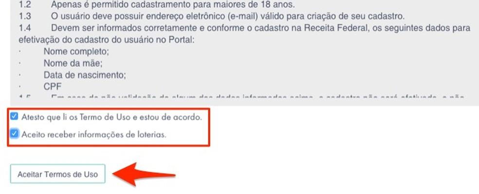 Loterias da Caixa veebisaidi kasutustingimustega nõustudes Foto: Reproduo / Marvin Costa