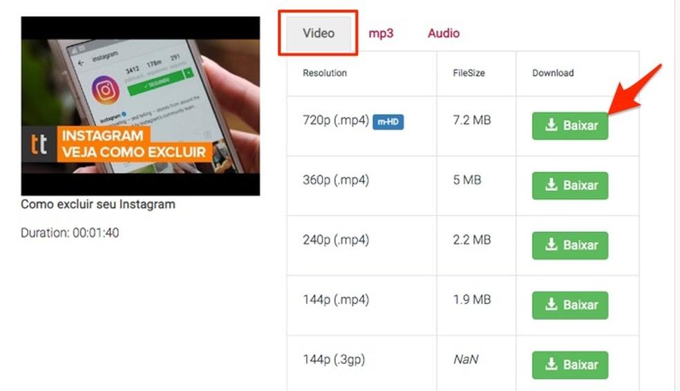 Y2mate.com võimaldab alla laadida erinevas suuruses ja kvaliteediga fotode YouTube'i videoid: Reproduo / Marvin Costa