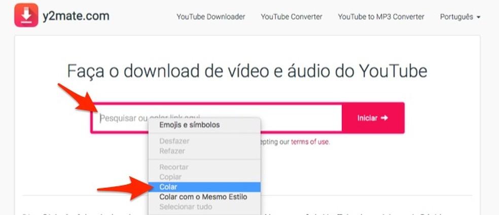 YouTube'i aadressi kleepimine Y2mate.com fototööriista: Reproduo / Marvin Costa